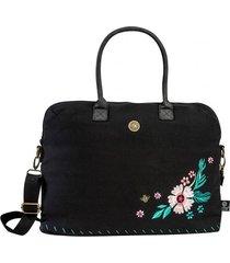 cartera  floral bordado negro rhein