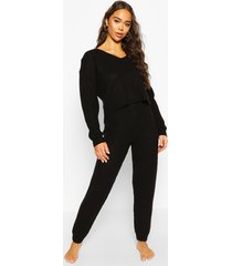 cropped knit sweater and jogger lounge sets, black