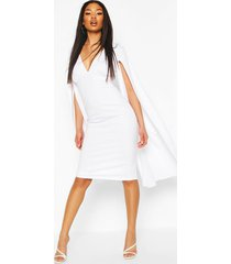 cape sleeve open back midi dress, white