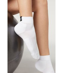 calzedonia active sport ankle socks woman white size tu