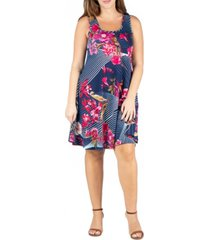 24seven comfort apparel women's plus size floral fit and flare tank dress