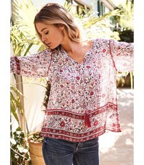 zijden boho-blouse met paisley-motief