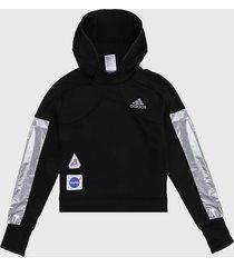 buzo negro-blanco adidas performance space hoodie w