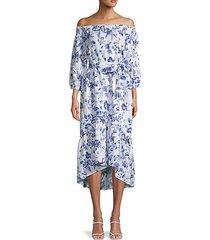 off-the-shoulder linen midi dress
