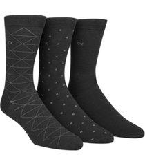 calvin klein men's socks, fashion geometric crew 3 pack