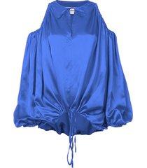 cut-out shoulder blouse blue