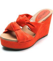 sandalia tacón corrido naranja beira rio