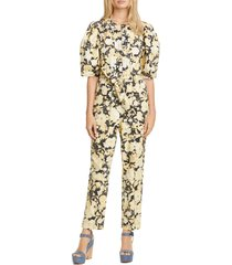 women's rebecca taylor gold leaf puff sleeve utility jumpsuit