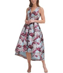 eliza j floral-print high-low gown