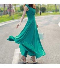 pf253 sexy deep v sleeveless chiffon swing dress  size s-xl, deep green