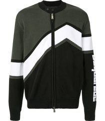 dsquared2 logo intarsia zip-up cardigan - green
