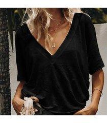 s-5xl verano sólido t shirt ladies sexy cuello en v camiseta de-negro