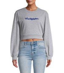 true religion women's embroidered logo cropped sweatshirt - heather grey - size s