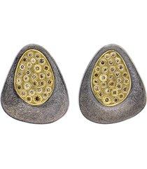 cognac diamond silver stud earrings
