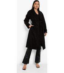 nepwollen badjas met ceintuur, black