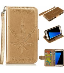 galaxy s7 case,xyx [gold] embossed maple leaf pu leather wallet case kickstand c