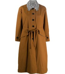 barbour gingham-collar tie waist parka - brown