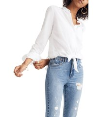 women's madewell tie front shirt, size medium - white