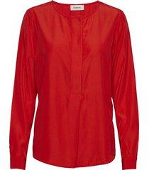 florina shirt blus långärmad röd modström
