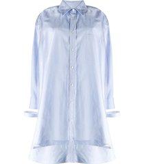 maison margiela sheer-overlay shirt-dress - blue