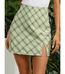 yoins falda de cintura alta con dobladillo de cuadros verdes