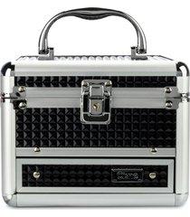 maleta de maquiagem cisne em alumínio 2 bandejas preto