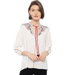 blusa desigual blanco - calce holgado