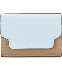 marni tri-fold saffiano leather wallet - blue