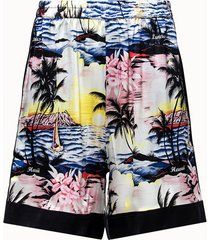 laneus shorts in seta con motivo hawaii