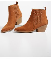 maurices womens audra studded pointed toe ankle bootie brown