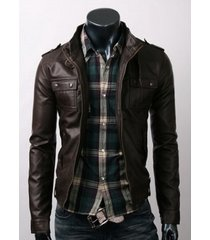 new handmade men slim brown leather jacket with six front pocket, mens jacket