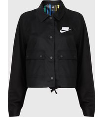 chaqueta nike negro - calce holgado