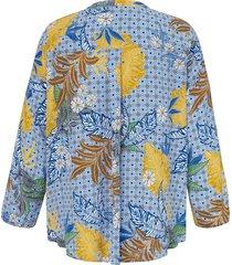 blouse met lange mouwen en v-hals van via appia due blauw