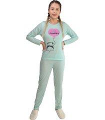 pijama feminino hello panda verde