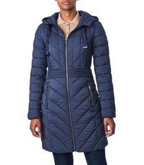 bernardo bernado packable hooded walker coat, size x-small in deep ocean at nordstrom