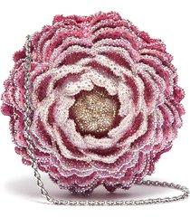 'peony' crystal pavé rose clutch