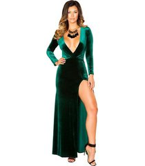 green velvet maxi length dress with high front slit-holiday gowns