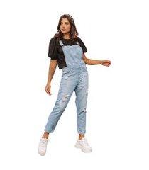 macacão jardineira jeans le julie