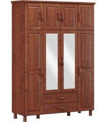 roupeiro bipartido 8 portas 2 gavetas e 2 espelhos finestra linha bronze cor imbuia