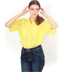 camisa color verde limon, cuello camisero, botones delanteros, manga corta, semi transparente color-verde-talla-s