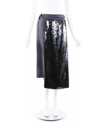 tibi removable sequin panel skirt black/purple sz: xs
