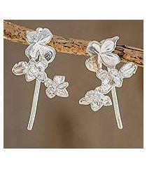sterling silver climber earrings, 'summer flowers' (costa rica)