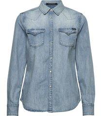 shirt overhemd met lange mouwen blauw replay