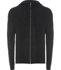 jaqueta masculina double hood - preto e azul