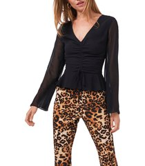 1.state ruched bell sleeve top, size medium in rich black at nordstrom