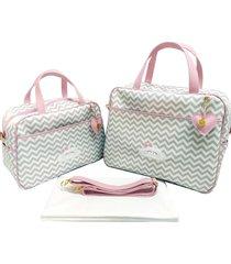 kit bolsa maternidade alinhado baby chevron cinza com rosa