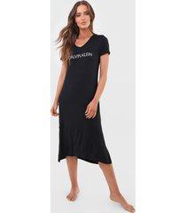 camisola calvin klein underwear midi lettering preta - preto - feminino - viscose - dafiti