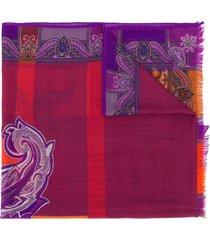 etro paisley cashmere scarf - purple
