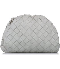 bottega veneta the mini pouch intrecciato leather crossbody bag white sz: m