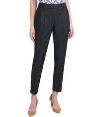 calvin klein pleat-front cuffed slim-fit pants